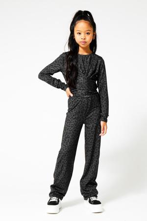 jumpsuit met all over print antraciet/zwart