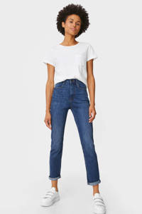 C&A high waist slim fit jeans donkerblauw, Donkerblauw