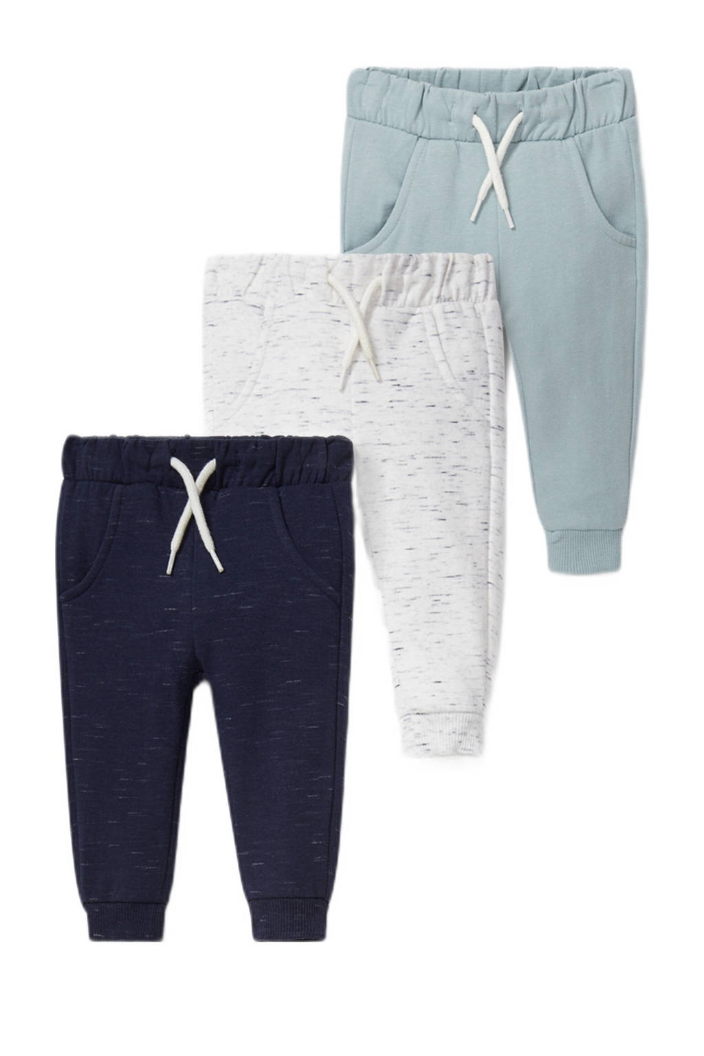 C&A Baby Club joggingbroek - set van 3 donkerblauw/mintgroen/wit, Donkerblauw/wit/mintgroen