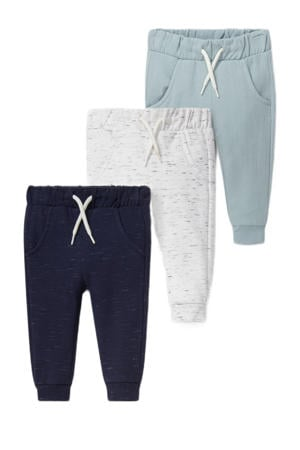 joggingbroek - set van 3 donkerblauw/mintgroen/wit