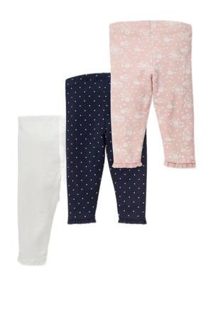 legging - set van 3 wit/donkerblauw/lichtroze