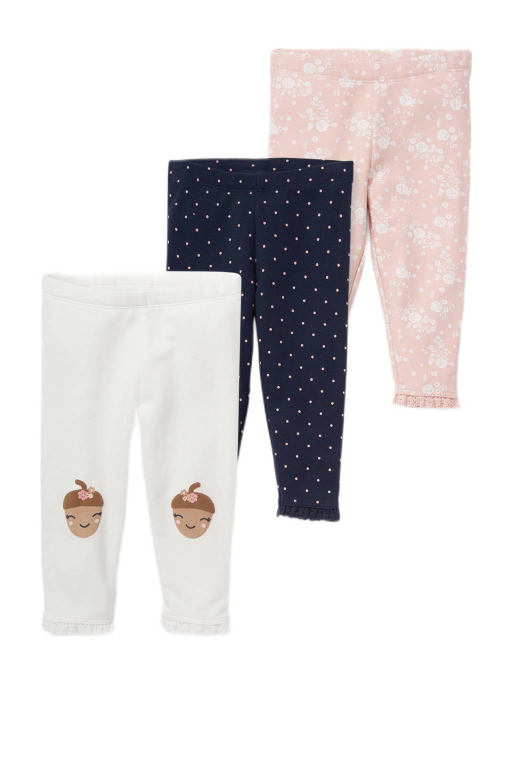 C&A legging - set van 3 wit/donkerblauw/lichtroze, Wit/donkerblauw/lichtroze