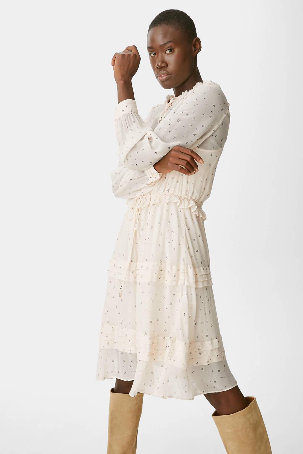 C&A semi-transparante jurk met all over print en ruches zand, Zand