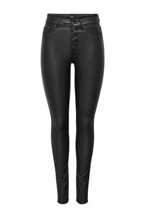 coated high waist skinny broek ONLBLUSH zwart