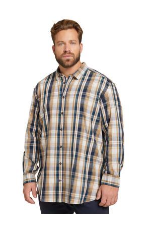 geruit regular fit overhemd cognac navy check