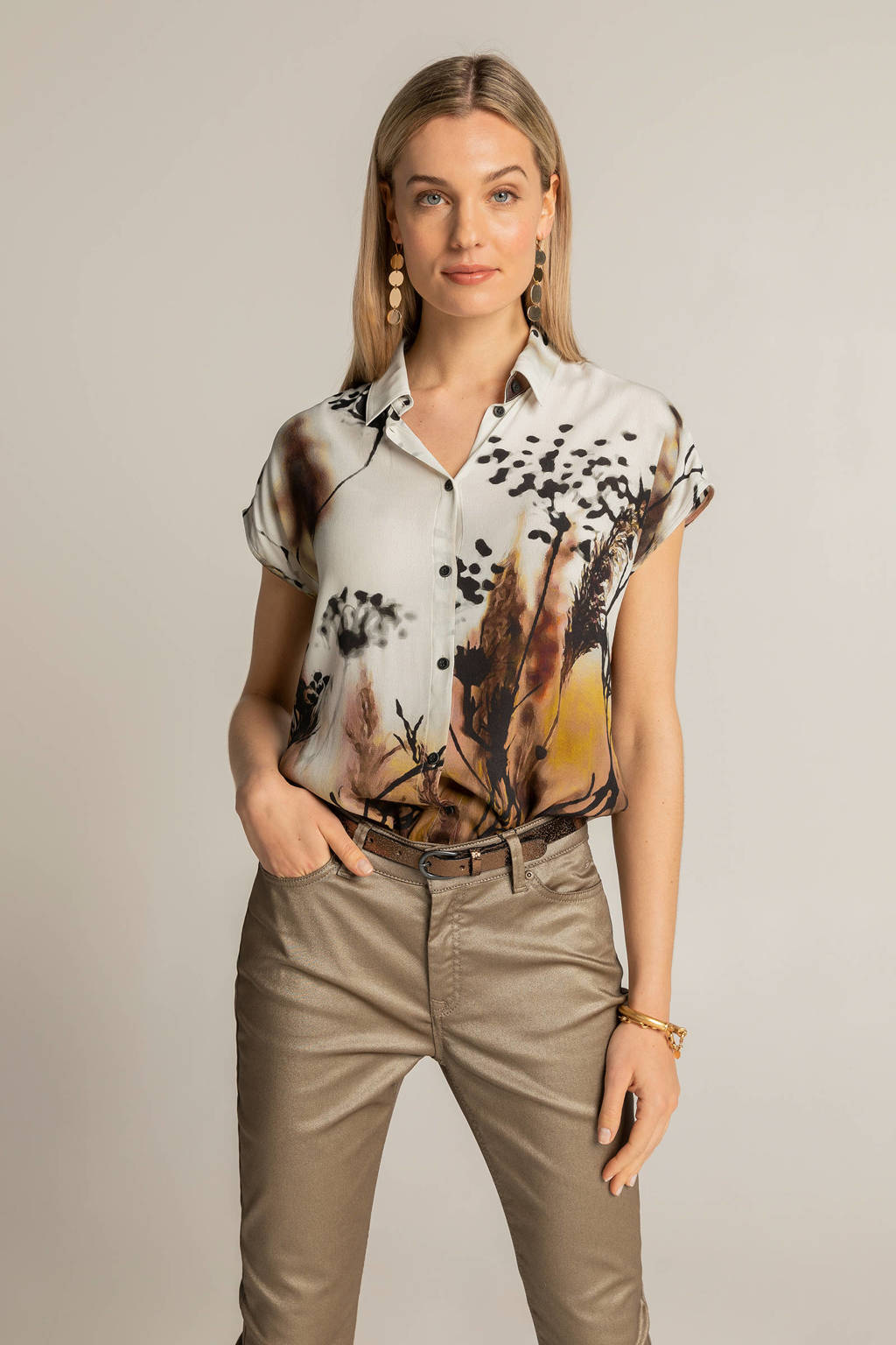 Expresso geweven blouse met printopdruk ecru/zwart/bruin, Ecru/zwart/bruin