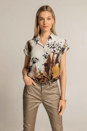 geweven blouse met printopdruk ecru/zwart/bruin