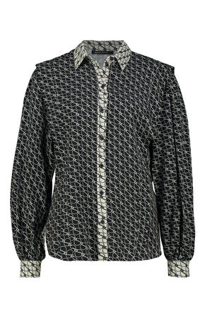 geweven blouse met all over print zwart/ecru