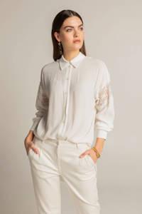 Expresso blouse met kant ecru, Ecru