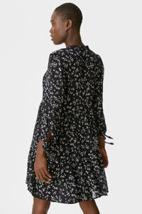 C&A gebloemde semi-transparante A-lijn jurk zwart/wit, Zwart/wit