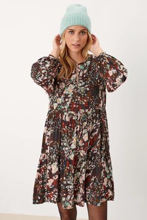 A-lijn jurk met all over print en plooien multicolor