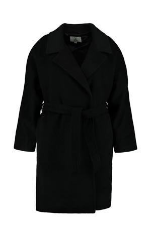 coat Jasmina  met ceintuur zwart