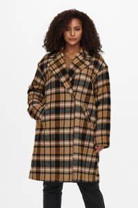 ONLY CARMAKOMA geruite  coat CARSOFIA okergeel/zwart/wit, Okergeel/zwart/wit