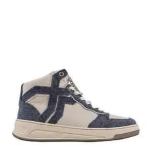 Old-Cosmo High  leren sneakers ecru/blauw