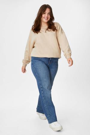 high waist straight fit jeans dark denim/blauw