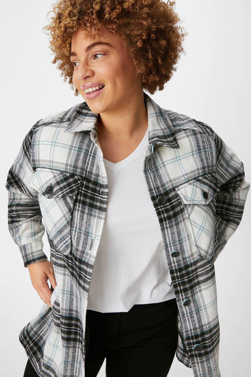 C&A XL geruite shacket zwart/wit, Zwart/wit