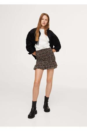 gebloemde semi-transparante rok zwart/multicolor