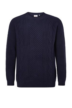 trui Plus Size met wol donkerblauw