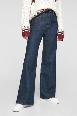 high waist wide leg jeans donkerblauw