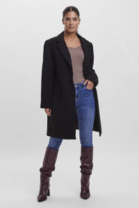 VERO MODA CURVE  coat VMCALACINDY van gerecycled polyester zwart, Zwart