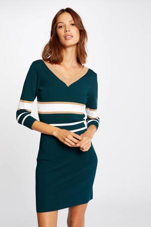 gestreepte fijngebreide jurk donkergroen