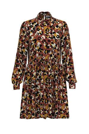 A-lijn jurk VILANA met all over print en plooien roodbruin/bruin/zwart/ecru