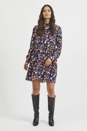 jurk VILANA met all over print en open detail donkerblauw