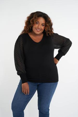 semi-transparante trui zwart