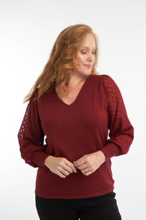 semi-transparante trui roodbruin