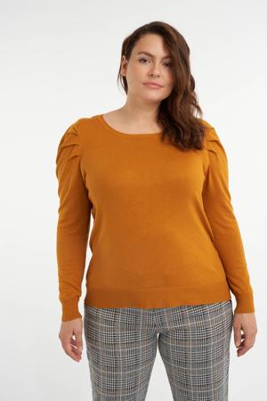 fijngebreide trui met plooien okergeel