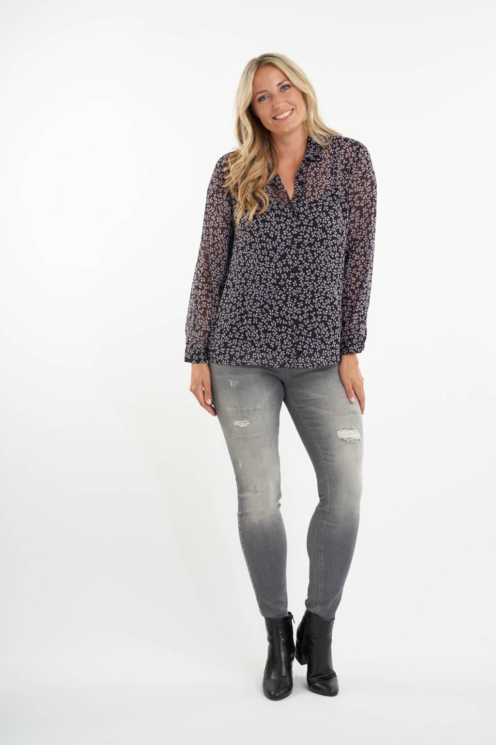 MS Mode gebloemde semi-transparante geweven blouse zwart/lila/wit, Zwart/lila/wit