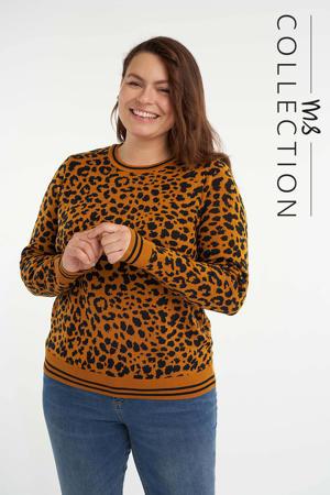 gebreide trui met dierenprint oker