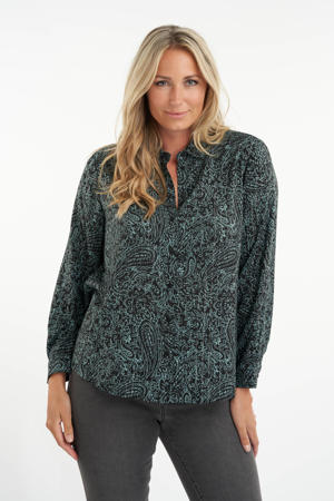 blouse met all over print zwart/groen
