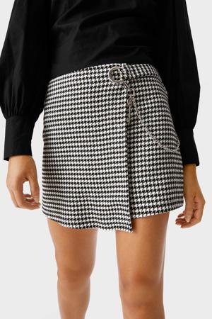 korte broek met pied-de-poule zwart/wit
