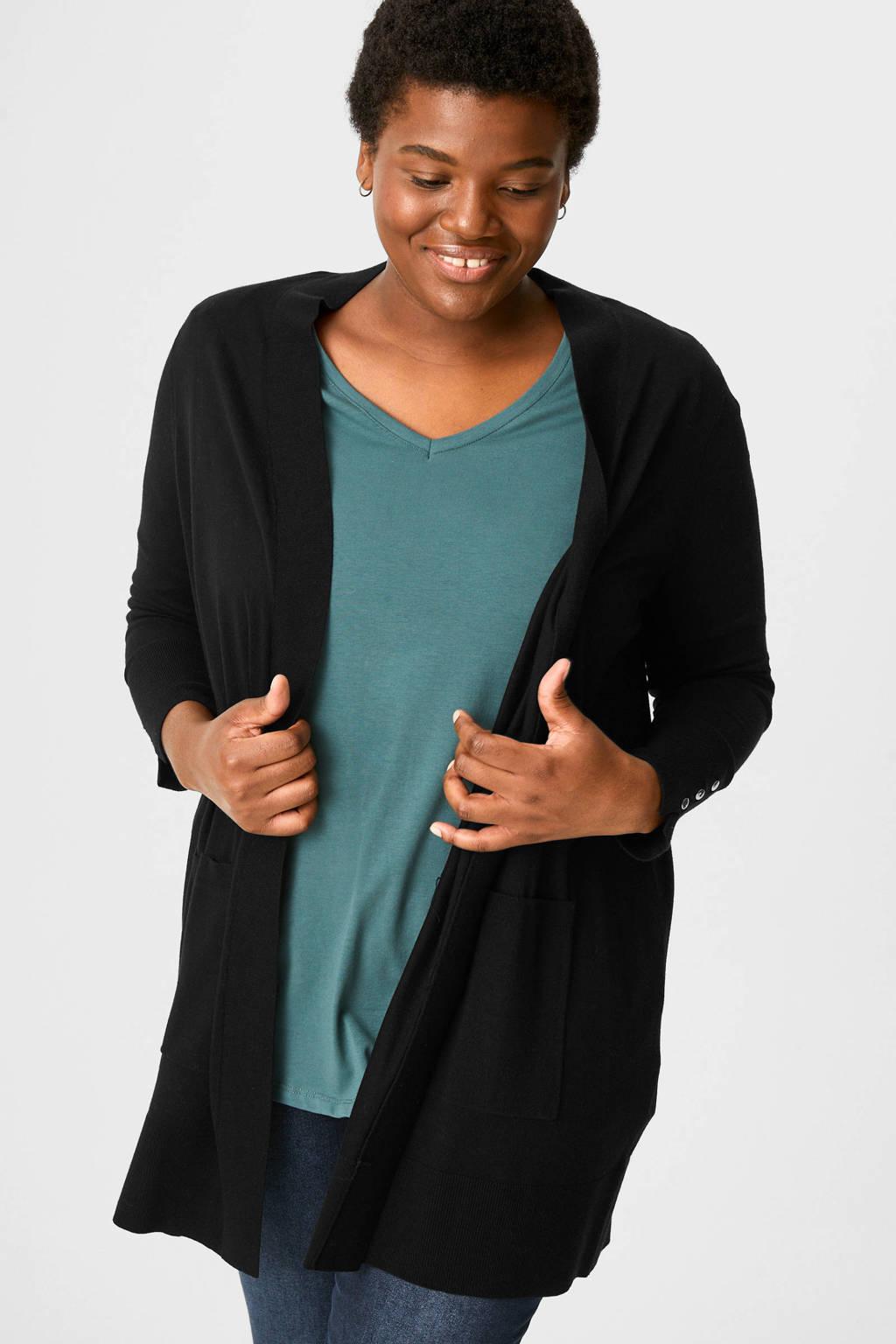 C&A Yessica gebreid vest zwart, Zwart