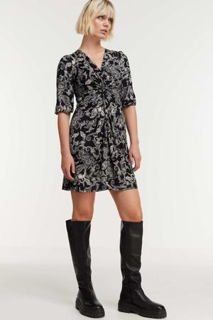 jurk met paisleyprint zwart/wit
