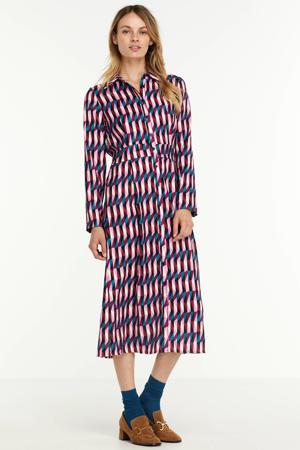 blousejurk met grafische print roze/blauw