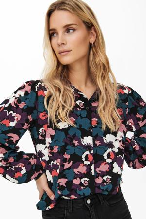 gebloemde blouse JDYBROOKE zwart/groen/paars/roodbruin/lichtroze/wit