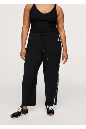 straight fit broek met zijstreep zwart/wit