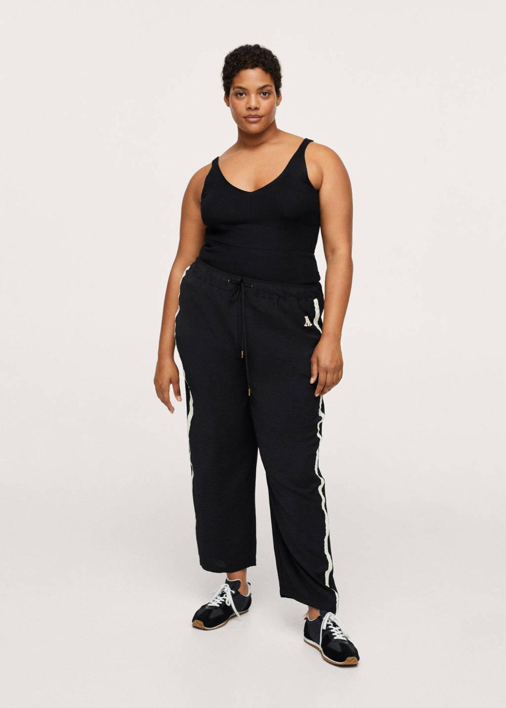 Mango Plus Size straight fit broek met zijstreep zwart/wit, Zwart/wit