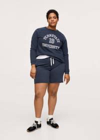 Mango Plus Size loose fit sweatshort donkerblauw/wit, Donkerblauw/wit