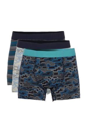 boxershort - set van 3 blauw/zwart/grijs