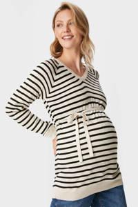 C&A gestreepte zwangerschapstrui beige/zwart, Beige/zwart