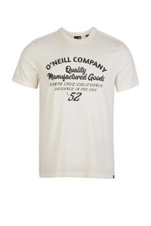 regular fit T-shirt met tekst lichtbeige