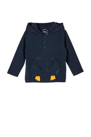 baby hoodie met 3D applicatie donkerblauw