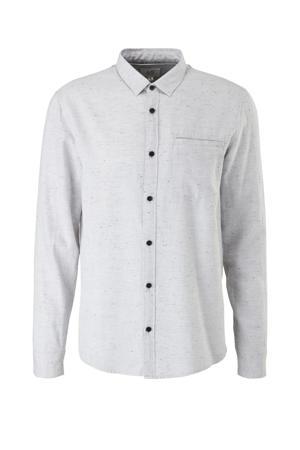 gemêleerd slim fit overhemd wit
