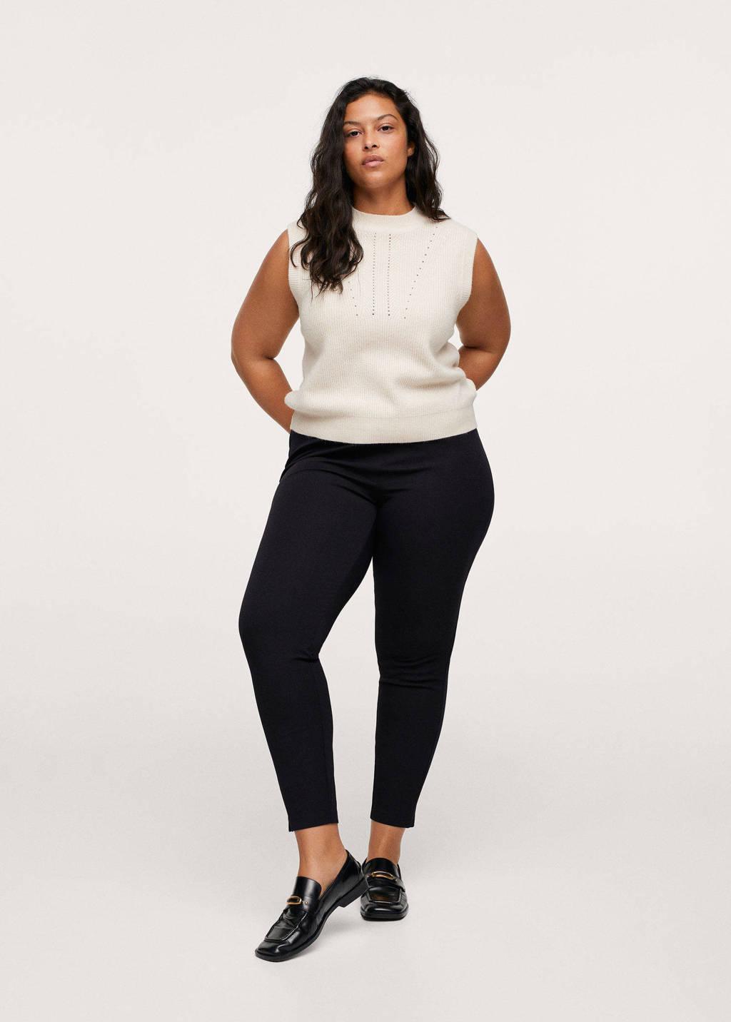 Mango Plus Size skinny pantalon zwart, Zwart