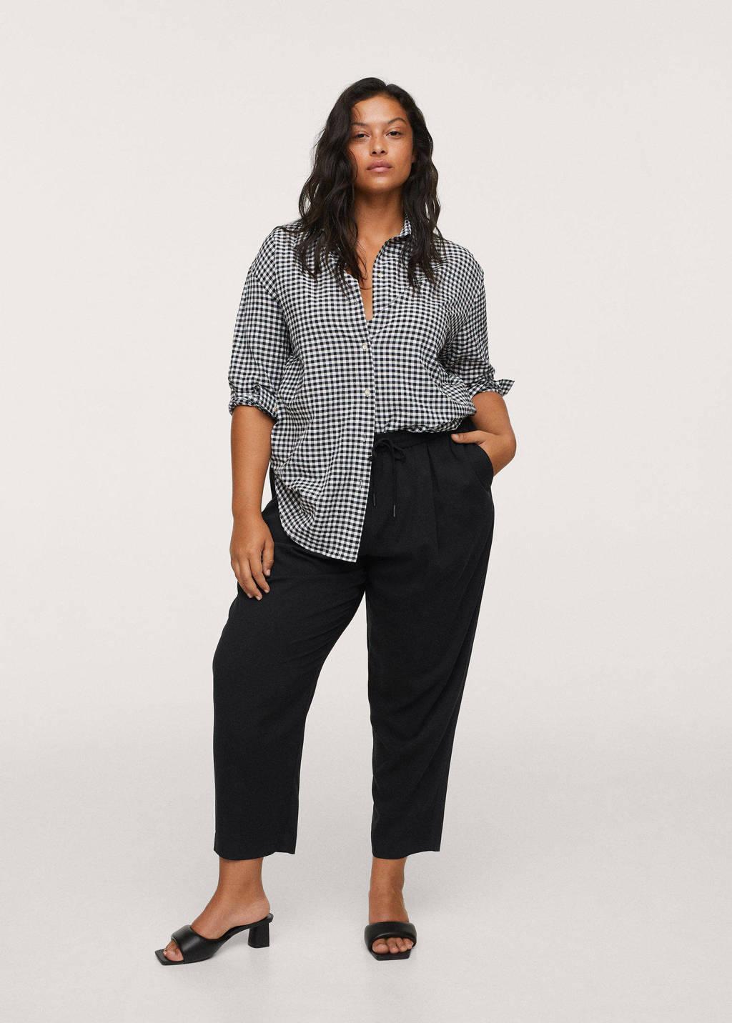 Mango Plus Size straight fit pantalon zwart, Zwart