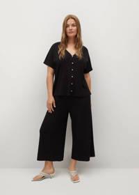 Mango Plus Size cropped high waist wide leg culotte zwart, Zwart
