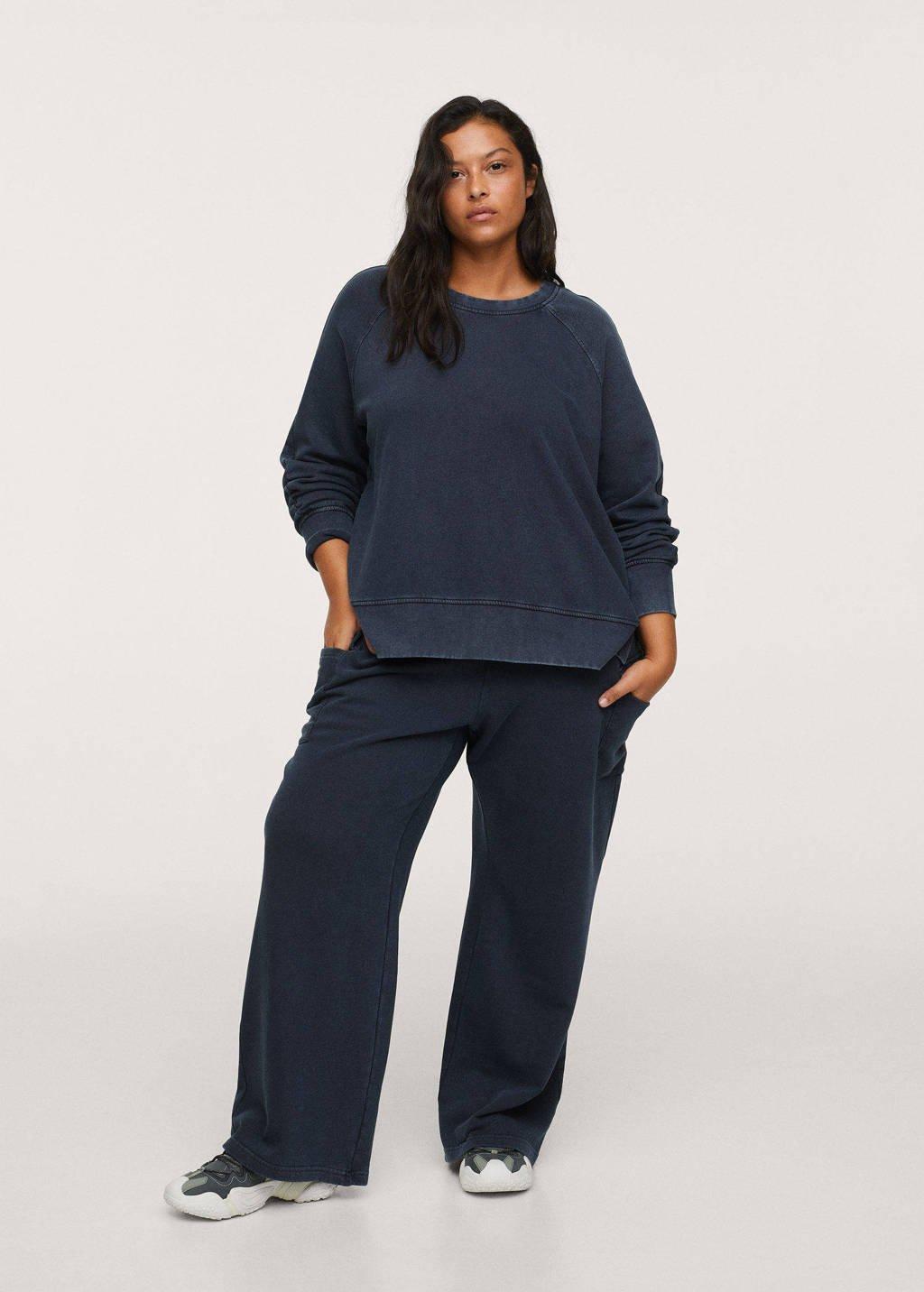 Mango Plus Size wide leg joggingbroek grijsblauw, Grijsblauw